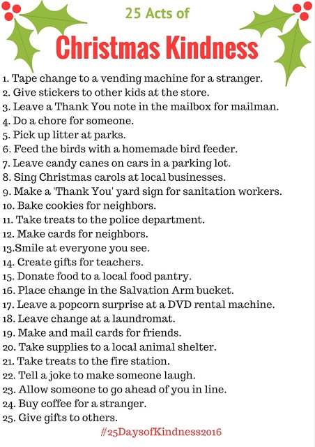 25 Acts of Christmas Kindness for Kids
